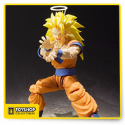 Five years after being offered as a web exclusive, Super Saiyan 3 Son Goku joins S.H.Figuarts with an all new sculpt and tons of new features! It looks great when displayed with the Tamashii EFFECT Energy Aura Yellow Ver. (sold separately). The highly posable 155mm figure includes five pairs of optional hands, three optional expressions, and a custom stand.