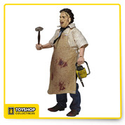 NECA Leatherface 40th Anniversary 8 Inch Clothed Figure  Get your retro fix with this brand new version of Leatherface in his classic outfit from the original 1974 film. This poseable 8″ figure is dressed in tailored fabric clothing similar to the retro toy lines that helped define the licensed action figure market in the 1970s.  Leatherface is wearing his button-down shirt, necktie, jeans, boots and apron. He comes complete with his trusty chainsaw and mallet. Blister card packaging with removable protective clamshell.