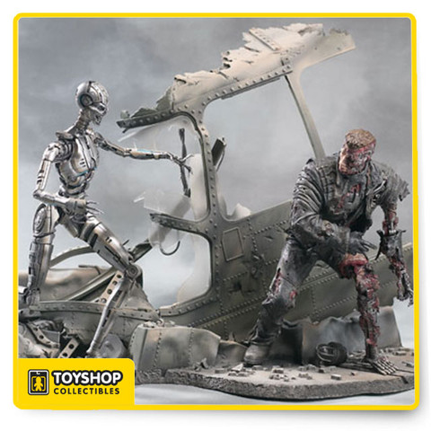 This deluxe boxed edition from McFarlane Toys' Terminator 3: Rise of the Machines series features a battle-damaged T-850 Terminator and a T-X Endoskeleton re-creating a pivotal scene from the film. Includes custom helicopter diorama base.