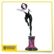 "The Spider-Woman of Earth-65 is taking the Marvel Universe by storm, whether she's fighting alongside other spider-heroes against the Inheritors, or playing with the Mary Janes in a battle of the bands! This 12-inch scale masked variant of our ""Spider-Gwen"" statue shows her alighting on a pillar, preparing to shoot a webline while balanced on one foot. Sculpted by Clayburn Moore, this resin statue is limited to an edition of 1,000 pieces, and comes packaged with a certificate of authenticity in a full-color window box."