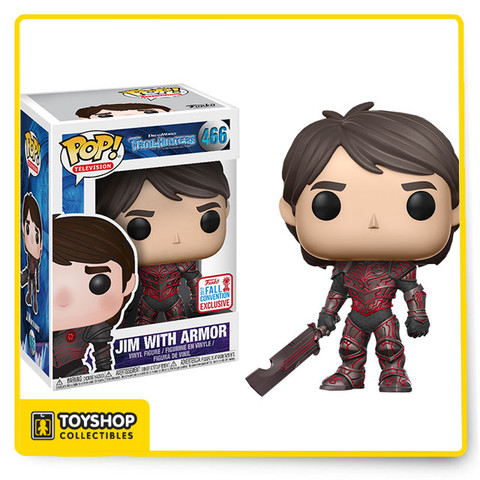 Trollhunters - Jim with Red Armor Pop! Vinyl Figure (2017 Fall Convention Exclusive). It's time for celebration once again as we present Funko's wave of 2017 Fall Convention Exclusives! Be the envy of all your Funko-collecting friends by adding these to your Funko collection today! Straight from beneath Arcadia come this adorable new Trollhunters Pop! Vinyl figure from Funko! Trollerhunters is a Netflix animated series that follows the story of a secret civilization of trolls that live beneath Arcadia, which humans are oblivious to. This Pop! features Jim, the first human Trollhunter after he and his friend Toby find a mystical amulet which grants him the Trollhunter mantle. He comes complete with his red armor. Add him to your Funko collection today!