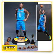 "Features:  - 2 head sculpts of museum-like representation of Kevin Durant with authentic likeness, one serious facial expression head sculpt and one shooting facial expression including. - The head sculpt is hand-painted with newly developed ""multi layer"" paint application. - Newly developed Kevin Durant body with 30 points of articulations, the height is according to Kevin Durant's actual height, therefore instead of the usual 12"" figurine, this product is actually around 13'' tall.  Accessories:  - 10 pieces of newly developed Kevin Durant signature interchangeable hands. (Including a pair with magnets inside) - 1 / 6 scale Spalding basketball with magnet inside X 1 - 13/14 NBA MVP Trophy x 1 - Accurate Official Number 35 NBA Oklahoma City Thunder Team road Jersey & shorts in blue color X 1 - 1 pair of NBA black socks - 1 pair of basketball tights - 1 pair of 13/14 season K.D's sneakers - Special developed figurine stand which can be easily twist and curl with base with Oklahoma City Thunder logo X 1"