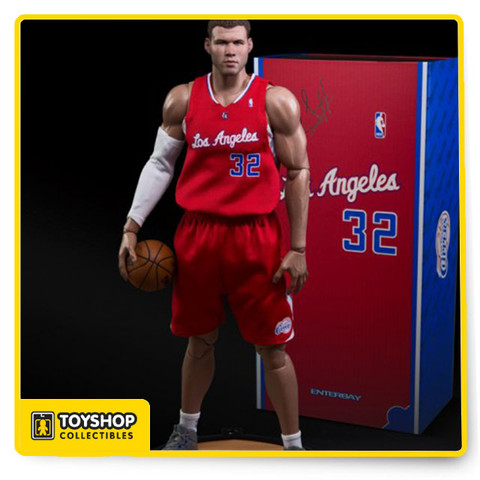 """Amazingly detailed and highly posable figure of NBA power forward Blake Griffin, in his #32 Los Angeles Clippers uniform. Features include two stunningly life-like head sculpts, 40 points of articulation, five pairs of interchangeable hands (two pairs with magnets inside to hold the Spalding basketball), and a white compression sleeve for his right arm.  PRODUCT INCLUDES ENTERBAY proudly presents This Real Masterpiece: NBA Collection – Blake Griffin 1/6 scale collectible figurine includes:  2 (two) head sculpts of museum-like representation of Blake Griffin with authentic likeness, each with a different facial expression. Each head sculpts are individually hand-painted with newly developed HD \""""multi layer\"""" paint application Newly developed NBA-BG body with 40 points of articulation, the height is according to Griffin's actual height, therefore instead of the usual 12"""" figurine, this product is actually around 13"""" tall Accurate Official NBA Los Angeles Clippers Home Team Jerseys with shorts and a pair of white socks 5 (five) pairs of interchangeable hands, including two pairs with magnets on them to hold the basketball A set of white elbow pad and a pair of white basketball tights A 1/6 scale Spalding basketball with magnet inside Figure stand with Official NBA Los Angeles Clippers logo"""
