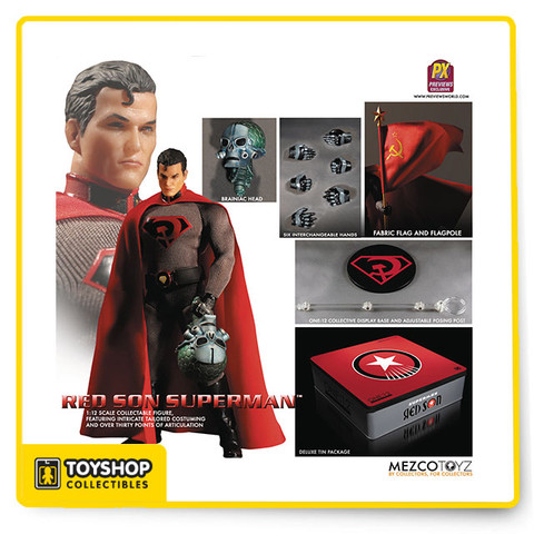 A PREVIEWS Exclusive! Mezco's One:12 Collective brings three of the DC Universe's greatest characters to life in their fan-favorite 1:12 scale format!  Each figure features intricate tailored costuming, over 30 points of articulation, character-specific accessories (including multiple pairs of variant hands), a character-specific display base and collector's tin!