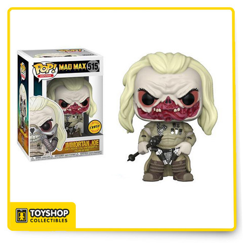 """Immortan Joe #515 (CHASE) - Mad Max: Fury Road Pop! Movies Vinyl Figure by Funko.  This listing is for the unmasked CHASE version of the Immortan Joe vinyl figure. The figure is in stock and ready to ship.   -------------------------------------------------- From Funko: """"Oh what a day! What a Lovely Day!"""" Funko is excited to introduce the post-apocalyptic world of Mad Max: Fury Road coming to Rock Candy, Mystery Minis, and Pop! vinyl! This series of Pop! vinyl features War Boy Nux, The Valkyrie, Coma Doof the blind guitarist, Lord of the Citadel Immortan Joe, his wife Capable, and Furiosa - complete with steering wheel to drive the war rig. In addition, Max himself! Look for the chase variants of Immortan Joe and Furiosa!"""
