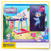 "Right side up or upside down, this Playset is the perfect place for your WowWee Fingerlings pets to monkey around! This Monkey Bar and Swing Playset includes Liv - a cute, exclusive, periwinkle blue Fingerlings Baby Monkey with pink hair. Like all Fingerlings Baby Monkeys, Liv loves to interact with you - responding to touch, sounds and movement with cute monkey babble, blinking eyes, and head turns. When Liv is not holding onto your finger, she will love playing in her Playset. You can hang her by her tail on the monkey bars, push her back and forth in the swing, or have her play ""king-of-the-castle"" from the seat at the top of the structure. The seat and swing feature specially designed cut-outs to fit a tail, so Liv and your other Fingerlings Baby Monkeys remain safely seated while you play! The brightly colored, durable playground features a yellow detachable swing and flags, purple monkey bars and seat, blue ladder structure and a pink base, with plenty of room for the included Fingerlings Baby Monkey to play with your other little pets.     Sturdy playground features monkey bars and a detachable swing, plus exclusive Fingerlings baby monkey ""Liv"" Liv is an adorable blue monkey with pink hair who lives to play Rock your Fingerlings Baby Monkey back and forth in the swing or hang it upside down from its tail The seat on top of the Monkey bars gives your pet Monkey a view from the top of the Playset All of your WowWee Fingerlings pets can grip onto the side of the ladder   1 LR44 battery is required"
