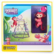 "Aimee is a cute, coral pink Fingerlings Baby Monkey with soft blue hair, who loves to grip onto her purple Jungle Gym! Competitive by nature, Aimee is happiest sitting at the top of her Gym. She also loves swinging from it by her tail. Like all Fingerlings Baby Monkeys, Aimee also loves to interact with you - responding to touch, sounds and movement. She's happy to go wherever you go and will make you laugh with her cute monkey babble and giggles, adorable blinking eyes and head turns. When Aimee is not holding onto your finger, she will love playing in her purple playground on her own or with your other little pets!  Fingerlings Jungle Gym includes ""Aimee"" - an exclusive coral pink monkey with soft blue hair Aimee is a cute, competitive monkey who loves being first to the top She loves to interact with you holding onto your finger and responding to touch, sounds and movement The purple climbing playground is perfect for your little pets to monkey around Your Fingerlings friends can grip on the side of the Playset or hang upside down from their tails 4 LR44 batteries are required"