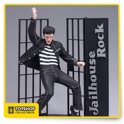 The fifth in McFarlane Toys' series of Elvis Presley action figures showcases the King of Rock 'n' Roll in a classic pose from his 1957 film, Jailhouse Rock. Capturing Elvis' spirit, this incredibly detailed figure comes complete with a custom stage diorama base — he's groovin' atop a stack of 45 records, and the cell bars are swinging behind him.