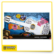 Enjoy your own musical fantasy adventure with this interactive, light-up guitar inspired by PIXAR's Coco. Detailed just like the guitar Miguel discovers in the movie, this super fun toy plays chords with a simple press and a strum.  Hold down buttons on neck and strum ''strings'' to hear chord  Skull at head ''chomps'' when first chord button is pressed  Lights up via On/Off switch
