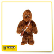 Chewbacca plush is nearly two feet tall standing at 19 inches. The satchel is functional and can carry small treats or essentials.    Magic in the details:  - Faux fur covering  - Embroidered features  - Plush hand and foot pads  - Soft, squeezable fill  - Attached faux leather satchel with self-stick fabric closure    The bare necessities:  - Polyester  - 19 inches height  - Imported, officially licensed Star Wars / Disney  New with tags.