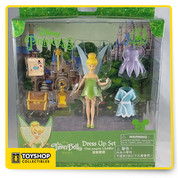 "DISNEY THEME PARK MERCHANDISE.   TINKERBELL PLAYSET COMES WITH:  TINKERBELL (APPROX. 4"" TALL)  3-OUTFITS  1-WAND  1-LANTERN  1-TREASURE MAP  AND  1-TREASURE CHEST"