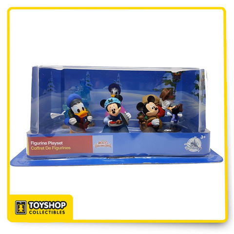 This deal consists of a new Disney Mickey's Christmas Carols figurines play set. Material is plastic and PVC. This includes:  Mickey as Bob Cratchit  Minnie as Emily Cratchit  Scrooge McDuck as Ebenezer Scrooge, and Tiny Tim  Goofy as Jacob Marley's ghost  Donald as Fred  Daisy as Isabelle