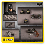 """Product Description From the motion picture Batman V Superman: Dawn Of Justice comes Batman. Batman is ready for the unthinkable; Fearing the actions of a god-like Super Hero left unchecked, Gotham City's own formidable, forceful vigilante takes on Metropolis's most revered, modern-day savior, while the world wrestles with what sort of hero it really needs.  Featuring a incredible digitally modeled portrait sculpt to craft an exceptional screen-accurate likeness of award winning actor Ben Affleck. Batman is assembled on a newly designed One:12 Collective body featuring over 44 articulated points of movement. This figure is costumed in a film accurate outfit utilizing ground breaking methods to achieve a remarkably authentic look.  Each figure is packaged in a deluxe, fifth panel window box with translucent acetate slipcover. Designed for collector convenience, the packaging allows for both maximum protection as well as ease of removal for display.  Product Features Product Size: 6"""" Featuring over 44 articulated points of movement Digitally modeled portrait of award winning actor Ben Affleck Costumed in a film accurate outfit Box Contents Batman figure Regular head Alternate angry head Fists (L & R) Posing hands (L & R) Holding hands (L & R) Batarang holding hands (L & R) Batarang Bat brand Grappling gun Grappling hook with rope Grenade Utility Belt Display base with posing post"""