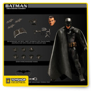 Every Knight has a beginning and the One:12 Collective's Batman starts here. Batman—Ascending Knight is part of a trilogy: A beginning, a middle and an end. The Ascending Knight is Batman in his first year; designed to be contemporary but still have a first appearance feel. This is the Batman of 10 years ago, as he just began his war on crime.   At the start of his crime-fighting career Bruce Wayne is still working things out, finding what works and what doesn't. Some of his tech and gear is still a bit unfinished and raw. His Bat Suit is bulky, showing that he has not yet fine-tuned it.  Of course the design pays homage to Batman as he first appeared in Detective Comics. The shape of his cowl, the shorter gloves and the smaller symbol on his chest are all inspired by his original debut in the comics.     THE ONE:12 COLLECTIVE BATMAN—ASCENDING KNIGHT FEATURES: One (1) detailed Batman head portrait One (1) detailed Bruce Wayne head portrait A One:12 Collective body with over 30 points of articulation Hand-painted, authentic detailing Over 16cm tall Seven (7) interchangeable hands including: One (1) pair of fists (L & R) One (1) pair of Batarang holding hands (L & R) One (1) pair of posing hands (L & R) One (1) grappling-hook holding hand (R)    COSTUME: Cowled Head Spandex outfit with body armor detail Leather-like cape 3D chest insignia Spiked wrist cuffs and SAP gloves Utility belt with grapple gun holster Highly detailed tactical boots    ACCESSORIES: One (1) grappling gun   One (1) closed grappling hook for grappling gun  One (1) open grappling hook for grappling gun One (1) open grappling hook with attached rope  Six (6) Batarangs One (1) heavy assault Batarang (Bat-brick) One (1) tranq-dart wrist crossbow One (1) One:12 Collective display base with logo One (1) One:12 Collective adjustable display post    Each One:12 Collective Batman—Ascending Knight figure is packaged in a deluxe, collector friendly box, designed with collectors in mind, there are no twist ties for easy in and out of package display.