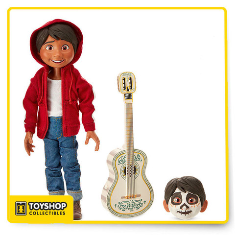 Fully poseable Includes guitar and two interchangeable heads (one with face paint) Button on guitar plays movie song: The World is Mi Familia T-shirt, jeans, shoes and hoodie all attached