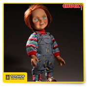 "From Mezco:  He wants you for a best friend!  We continue our popular line of Chucky collectibles with the one that started it all: the Good Guys doll.  Before he became possessed by the Spirit of Charles Lee Ray — a serial killer better known as ""The Lakeshore Strangler"" — Chucky was just a harmless Good Guys doll. His face not yet scarred, his clothes not yet bloodied, Chucky appears cheerful and ready for fun.  Our designers have created an all new head sculpt that perfectly captures his look in the popular film series, including his bright red hair, his wide-eyed innocence, and his cheerful smile. Every detail of his iconic outfit has been replicated, from his classic coveralls and shirt to the unique imprint of the soles on his sneakers.  Just as he did in the films, Chucky speaks 4 movie-accurate phrases when you activate the discreetly placed button on his back.  Packaged in a sturdy, collector-friendly die-cut window box inspired by the packaging seen in the films, the Good Guys 15"" Chucky doll is sure to become a focal point of any Chucky collection."