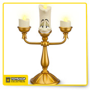 From Disney:  It's Lumiere come to life, just as he looks in Disney's classic Beauty and the Beast. Our expressive, fully sculptured candlestick figure features flickering LED ''flame'' lights and golden finish. Put his service to the test! Magic in the details  Created especially for Walt Disney World Resort and Disneyland Resort  Fully sculptured Lumiere figurine Three flickering LED lights On/Off switch Slip free pad on base Golden finish