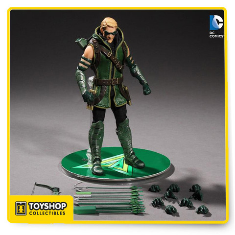"Painstakingly developed to capture the heroic characters, the Green Arrow 1:12 Collective Action Figure is a seamless blend of a timeless icon with a ""real world"" look. With 32 points of articulation, an accurately detailed real fabric uniform with an integrated wire for posing and draping, and numerous interchangeable accessories, the Green Arrow 1:12 Collective Action Figure was designed with collectors in mind. Each figure comes packaged in a deluxe, fifth panel window box with translucent acetate slipcover for both maximum protection as well as ease of removal for display and measures about 6-inches tall. Accessories Include: Standard masked portrait ""OTV"" protective tunic Armored boots and gloves Harness Bow and quiver Standard arrow, grappling hook arrow, PETN explosive arrow, Kryptonite arrow, three-arrow bundle, and bundle of arrows for quiver Knife and sheath Posing hands (L&R) Fists (L&R) Bow holding hand (L) Multi-arrow holding hand (R) Single arrow holding hand (L&R) Knife holding hand (R)Quiver-arrow pulling hand (R)Display base with posing post"