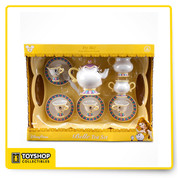 Parks Exclusive  13-Piece Set includes Serving tray, Mrs. Pots tea pot with Lid, 4 Saucers, 4 Cups that look like Chip, Creamer and Sugar Bowl with Lid  Makes sounds