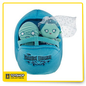 Official haunted mansion plush set new never used    Features Exclusive Disney Theme Parks item Doom Buggy plush playset with Haunted Mansion characters, The Bride and Mummy 10'' L x 8'' W x 8'' H Polyester plush color: blue