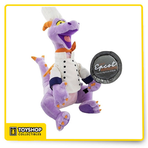Chef Figment will whip-up hugs and kisses with his sweet, soft-stuffed souvenir of the Epcot International Food & Wine Festival 2017.   Chef Figment plush holds a soft frying pan with the 2017 Epcot International Food and Wine Festival logo 15'' H Polyester Plush Imported