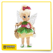 First ever Special Edition Disney Animators' Collection Doll Press her belly and Tink's wings light up Tink's skirt is five layers and accented with gems that emulate dew drops Accessories include a faux suede pouch and a pixie dust bottle Tink's signature shoes sparkle with iridescent pom poms Iridescent accents shimmer in her hair and makeup Comes in a display box featuring character sketches and artist biography Ages 3+ Requires 3 x AG13 button cell batteries, included Plastic / polyester 16'' H (with top knot)