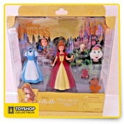 New Disney Resorts Shanghai  Belle Dress Up Figure Set Includes  Belle with two dresses and two heads ( party hair / daily hair) Chip and Mrs Potts  Book and Basket