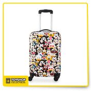 Created especially for Disney Cruise Line  Hardshell suitcase Allover emoji design Characters include Captain Mickey, Minnie, Donald, Goofy, and Pluto Single spinner wheels for easy turning Retractable pull handle and retracting top carry handle Elastic cross straps to keep belongings in place Large zipper pocket on interior panel Interior zipper pocket in the center Double zip closure for main compartment The bare necessities  Body: plastic Carry handle: aluminum Wheels: PVC Interior lining: polyester 20'' H x 13 1/2'' W x 3 3/4'' D Wipe clean with damp cloth Imported