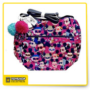 "Mickey & Minnie Hipsters pattern showing them in sunglasses and headphones. Nylon Bag Adjustable Strap Zipper Closed.  Interior Zipper pocket  Slip pockets inside Outside zipper pocket Measurements are 11""L x 16"" W x 11.5""H x 5"" Wide on bottom"