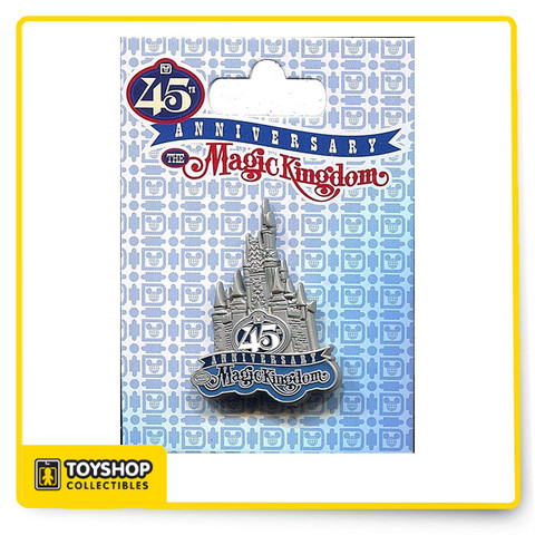 Disney Magic Kingdom 45th Anniversary logo pin featuring Cinderella Castle