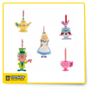 Disney Store Alice in Wonderland Sketchbook Mini Ornament Set of 5 NIB up to 2 1/2 inches each these are all mini.