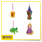 See the light with our boxed Sketchbook Mini Ornament set celebrating TV's Tangled: The Series. Rapunzel and friends are fully sculpted and ready to hang happily ever after on your holiday tree. Set of four fully sculptured miniature ornaments* Includes Rapunzel, Pascal, Tower, and Luminary (non-lighted) Satin ribbons for hanging Comes in window display box From Disney Store artist sketchbook designs inspired by Tangled: The Series * Please note: Not a toy. Decorative item only Resin Ornaments: up to 3'' H Case: 6'' H x 5'' W x 1 3/4'' D New with Box