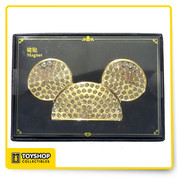 "Exclusive Shanghai Disney Theme Parks item Mickey ears magnet from the Grand Opening of Disney Shanghai Resort. Gold tone metal with diamond-like rhinestones all over Measures 4"" Comes in a decorative box"