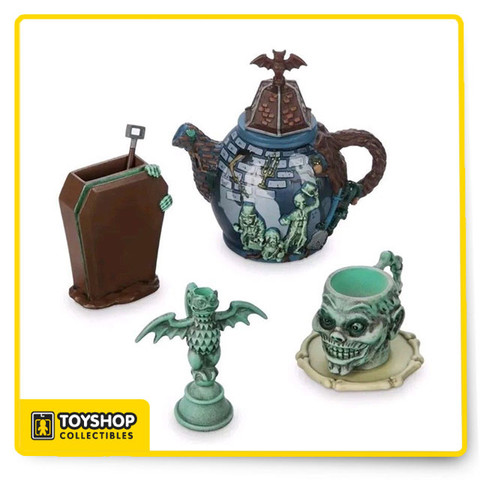 When spirited spooks come out to socialize, invite them to a tea party decorated with our Haunted Mansion mini tea set. This delightfully devious set features elements from the attraction including hitchhiking ghosts, a coffin, bat, and more. Magic in the details  Created especially for Walt Disney World Resort and Disneyland Resort  Set includes Haunted Mansion sculptured decorative teapot, sugar pot, creamer, and cup* Comes in a box with magnetic flap lid Resin Teapot: approx. 3 3/4'' H x 3'' W Teacup, sugar bowl, and creamer: each up to approx. 2'' H Saucer: approx. 1 3/4'' diameter Spoon: approx. 1 1/2'' L Imported  For decorative use only. Not a toy. Not for food use.