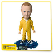 Everybody's favorite dropout stands victoriously on the translucent blue crystals Heisenberg's empire was built upon. Relive the tense, edge-of-your-seat excitement as Mezco's Breaking Bad Jesse Pinkman Bobblehead stares at you;  Jesse and base stand 6-inches tall and features bobble action. He comes complete in a collector friendly box.