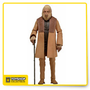 """Dr Zaius  articulated version of the world's most well-known primates , detailed action figure from the beloved 1968 film, Planet of the Apes ,  entirely faithful to their look in the original movie.   Figure stands approximately 7"""" tall and comes with character-specific accessories."""
