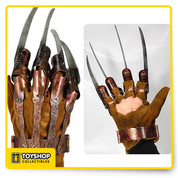 Own a perfect replica of Freddy's glove from A Nightmare on Elm Street 3: Dream Warriors! Each hand-crafted piece is formed of a distressed leather-like glove with riveted metal attachments. This great replica even includes a mannequin hand form for display when you're not wearing it. Sized to fit most adults.