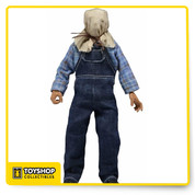 "Jason as he appears in Friday the 13th Part II ! This poseable 8"" figure is dressed in tailored fabric clothing similar to the retro toy lines that helped define the licensed action figure market in the 1970s. Jason is wearing his plaid shirt and overalls. He comes complete with a Pick Axe and Pitchfork, totally faithful to the movie. Blister card packaging with removable protective clamshell and custom illustrated artwork."