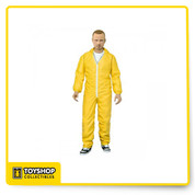 Jesse Pinkman in his yellow hazmat suit as seen in numerous episodes from the award-winning series Breaking Bad. Jesse stands 6 inches tall and he comes complete with a gas mask, chili powder, and a tray of blue crystal. The whole set is discreetly packaged on a collector-friendly blister card.