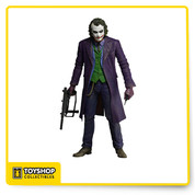 This amazing new 18″ tall figure is based on Heath Ledger's haunting portrayal of the Joker in Christopher Nolan's Dark Knight Trilogy. The Joker features incredible lifelike detail, interchangeable hands, and accessories which include a knife, pistol, and machine gun.