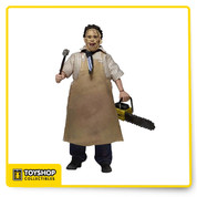 """8"""" Clothed Retro Action Doll 40th Anniversary Leatherface. Get your retro fix with this brand new version of Leatherface in his classic outfit from the original 1974 film. This  8"""" figure is dressed in tailored fabric clothing similar to the retro toy lines that helped define the licensed action figure market in the 1970's. Leatherface is wearing his button-down shirt, necktie, jeans, boots and apron. He comes complete with his trusty chainsaw and mallet. Blister card packaging with removable protective clamshell."""