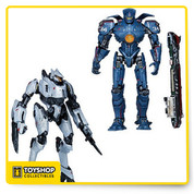 Gipsy Danger 2.0 and Tacit Ronin. Gipsy Danger sporting finer sculpted details, interchagable fists and ship that the robot can wield in battle like a giant club. Each 7″ scale figure features over 20 points of articulation and incredible detail. Both Jaegers are created from the actual digital files utilized by ILM in the creation of the film.