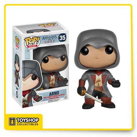 Assassin's Creed comes to you in Pop Vinyl form. The Assassin's Creed Arno Pop! Vinyl Figure features the video game protagonist as a stylized vinyl figure measuring 3 3/4-inches tall.