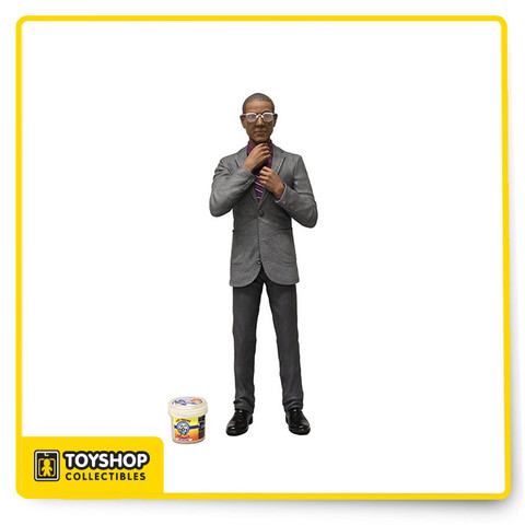Gus Fring, the ruthless drug kingpin with the mild mannered. A fan favorite, this 6inch scale figure wears one of his trademark suits and his ever-present glasses are removable. Dapper yet subdued, he appears harmless, but make no mistake, he can kill you without hesitation if you stand in his way. In addition to his removable glasses, he comes complete with a scale bucket of Los Pollos Hermanos fry batter and comes on a display friendly blister card.
