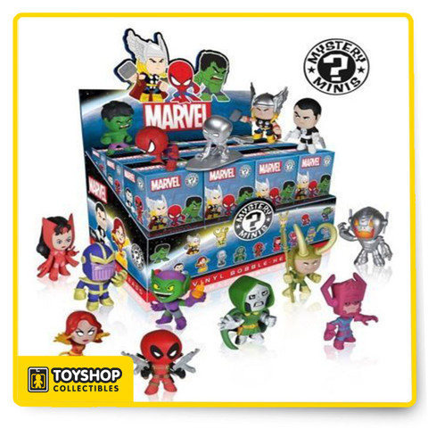 One 2.5 inch Marvel Mystery Mini Figure by Funko. Which one will you get? Open this Mystery Minis Blind Box to find out! You'll receive one of the following random vinyl figures. Collect them all!