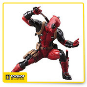 From KOTOBUKIYA Wade Wilson aka DEADPOOL! Wilson makes a stunning debut in the ARTFX+ series as he crouches in preparation for an attack, drawing one of his swords from the sheaths on his back. Deadpool naturally wears his iconic red and black costume complete with an abundance of straps, pouches, extra ammunition, spare weapons, pointy hood with mask, and of course his cute Deadpool logo belt buckle. Sculpted by Junnosuke Abe, the same master craftsman behind the Marvel Now Avengers series, Deadpool stands 6 inches tall (1/10th scale) in his deep crouch with perfect stability on his included magnetic display base.