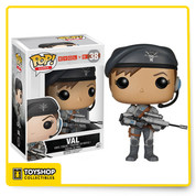 From 2K Games' multiplayer game, Evolve, Val is one of the invaluable Support Hunters, with the ability to turn all nearby allies invisible! The Evolve Val Pop! Vinyl Figure measures approximately 3 3/4-inches tall. Hunt or be hunted! Ages 17 and up.