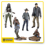 The Walking Dead action figures. Each highly articulated human figure features that actor's likeness and comes with multiple accessories comes with approximately 22 points of articulation. Set of  4 figures.