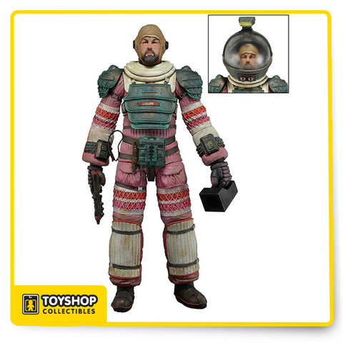 "Alien Series 4: Dallas in Compression Suit comes with removable helmet, pistol and flashlight. Each fully articulated figure stands approximately 7"" tall and comes in special 35th Anniversary packaging."