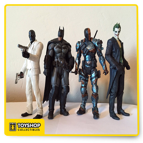 Batman is joined by three of his deadliest adversaries, Deathstroke, Black Mask and The Joker - in this 4-Pack based on their designs from the hit video game Batman: Arkham Origins. The Batman Arkham Origins Action Figure 4-Pack features a Batman hand sculpt and Remote Claw accessory! Measures about 7-inches tall, Ages 14 and up.